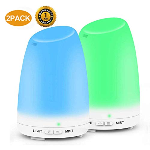 Essential Oil Diffuser,Ultrasonic Aromatherapy Diffuers Humidifier Set with Cool Mist, Waterless Auto Shut-off and 7 Color LED Lights for Bedroom Office Home Yoga Spa Baby 120ml 2 PACK