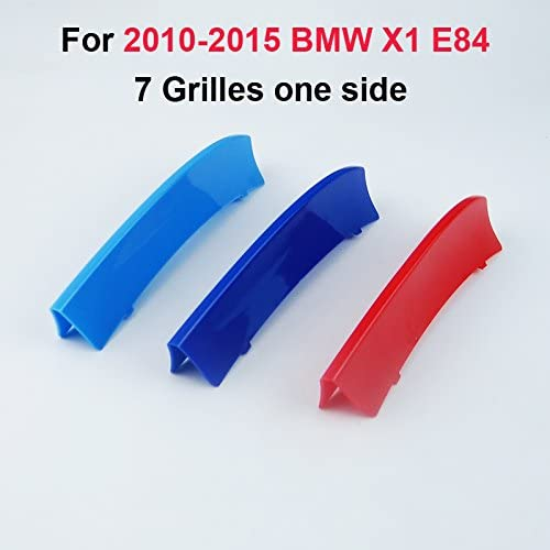 Fit for BMW X1 E84 2009-2016 7 Slats Bars Grilles Bonnet Hood Kidney Clip in Inserts Grille Stripes Cover Decor M Sport Tech Power Performance 3 Color