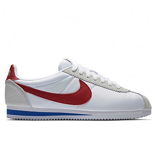 NIKE Men's Classic Cortez Nylon Premium White/Red/Blue 876873-101 (Size: 9.5) (Mens White Cortez Nike)