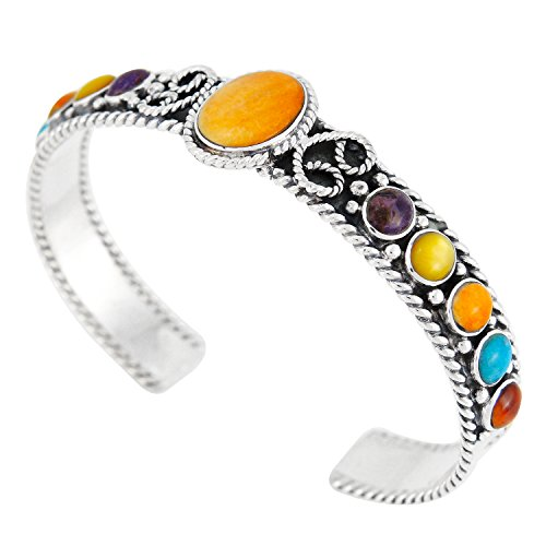 Turquoise Bracelet Sterling Silver 925 & Genuine Gemstones (Choose Style) (Rodeo Ropes)