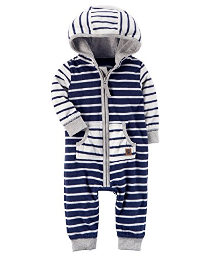 Carter's Baby Boys' Hooded Fleece Jumpsuit 18 Months,18 Months,Navy/White Stripe
