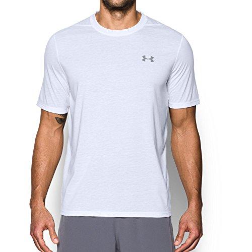 Under Armour Men's UA Threadborne Short Sleeve, White (100)/Overcast Gray, Large