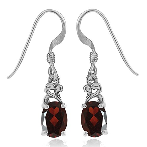 1.82ct. Natural Garnet 925 Sterling Silver Victorian Style Dangle Earrings