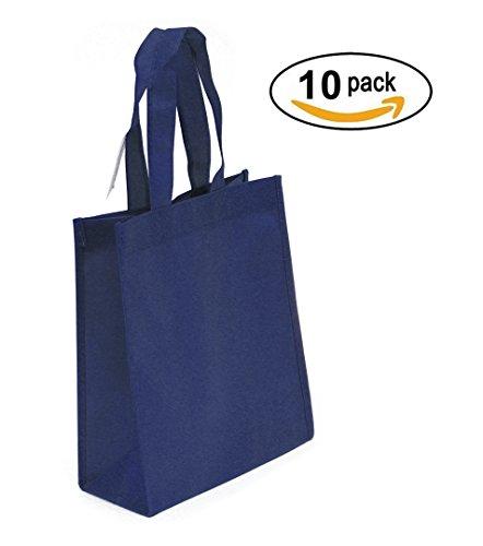 Non-woven Reusable Tote Bags, Heavy Duty Non-woven Polypropylene, Small Gift Tote Bag, Book Bag , Non Woven Bag Multipurpose Art Craft Screen Print School Bag (Navy Blue, Set of (Reusable Recyclable Tote Bag)