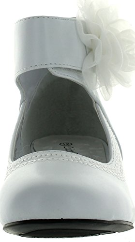 Pictures of Leatherette Chiffon Bow Ankle Cuff Kiddie Heel Wedge Sandal (Toddler/Little Girl/Big Girl) BA62 - White 3