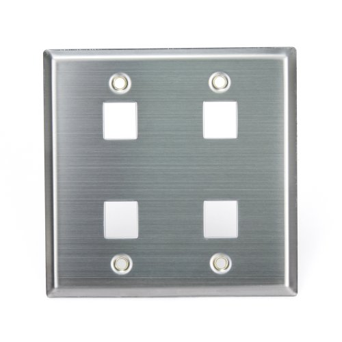 Stainless Steel 2 Center (Leviton 43080-2S4 QuickPort Wallplate, Dual Gang, 4-Port, Stainless Steel)