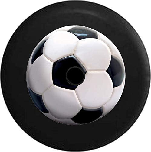 American Unlimited JL スペアタイヤカバー 生きているようなサッカーボール ブラックとホワイト JL 予備タイヤカバー バックアップカメラ穴付き BUC (適合: Jeep JL アクセサリー) 33 Inch ブラック TireJL-P183-Hole33