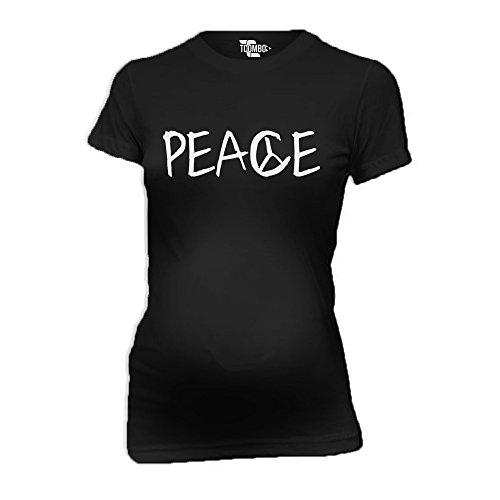 Peace with Peace Sign Women's Maternity T-Shirt (Black, Medium) Peace Maternity Tee