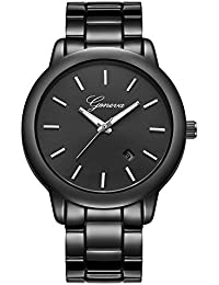ALPS Mens Watch Black Stainless Steel Calendar Fashion...