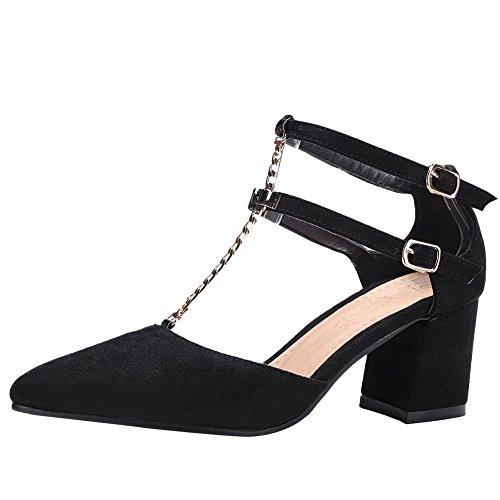 YE Damen T Strap Chunky Heels Pumps High Heels mit Riemchen Elegant Schuhe Schwarz