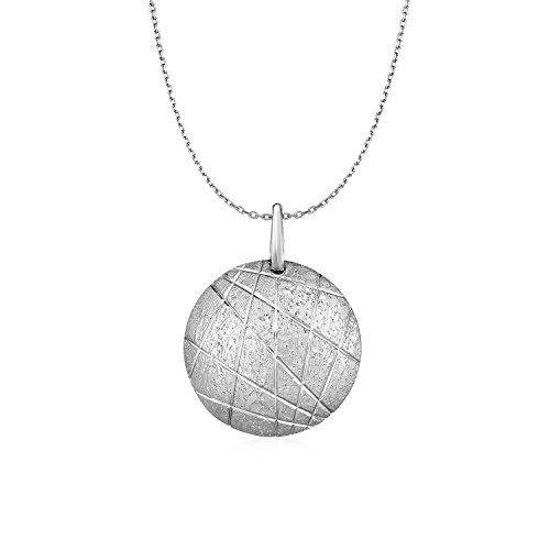 Textured Round Disc Pendant in Sterling Silver (Textured Silver Disc Sterling)