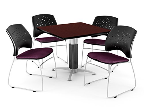 Breakroom Package, Mahogany Table/Burgundy Chair (Series Burgundy Fabric Mahogany Frame)
