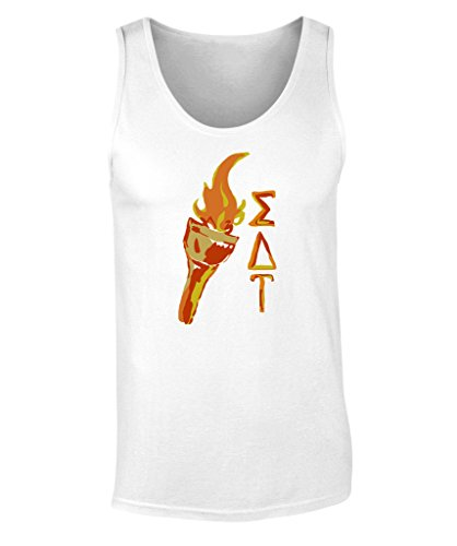 Sigma Delta Tau Torch Tank Top by Fashion Greek White XX-Large