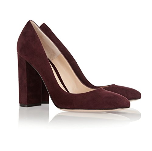 Pumps Women's Round High Thick Classic Toe Office Eldof Pumps WineSuede Heel 10cm Classic Heel 7w4dWqU
