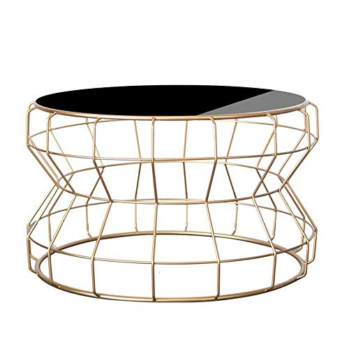 Tables Jcnfa Side, Sofa Side Nightstand Coffee Round Wrought Iron Tempered Glass Living Room , 4360CM (Color : Gold+Black Glass)