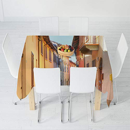 TecBillion Printed Tablecloth,Italy,for Rectangle Table Kitchen Dinning Party,47.2 X 47.2 Inch,Narrow Paves Street Among Old Houses ()