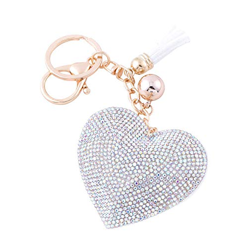 Soleebee Glitter Love Heart Keychain Premium SS6 Crystal Tassel Key Chain Leather Bag Charm for Women Girls (AB Color)