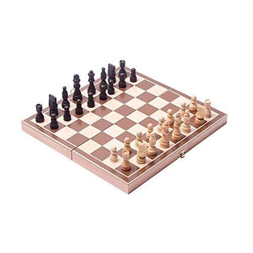 Set di scacchi in legno, scacchiera in legno pieghevole 3 in 1, gioco educativo da viaggio portatile per adulti e bambini