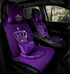 Bling Rhinestone Crown Purple Silk Car Seat Covers
