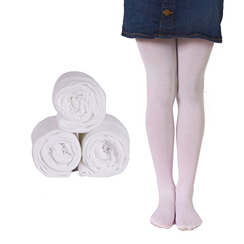 Mallary Girls Microfiber Tights 3-Pack White 6 to 8