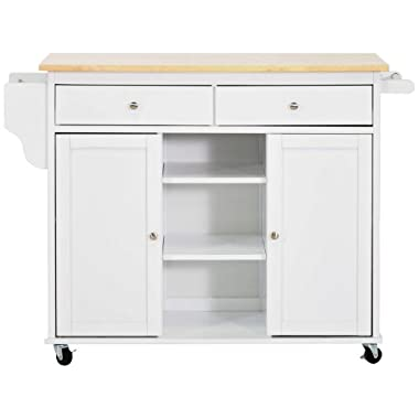 Baxton Studio Meryland White Modern Kitchen Island Cart