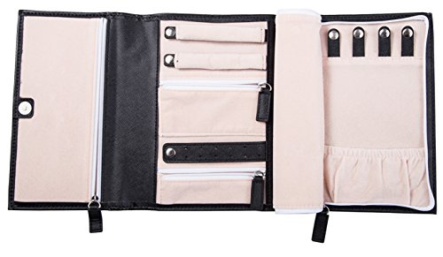ELOI Travel Jewelry Organizer Black Jewelry Case Vegan Leather Bag Jewelry Storage by by ELOI (Image #1)