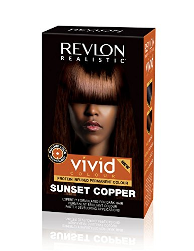 Revlon Realistic Vivid Colour Protein Infused Permanent Color Hair Dye with Color Lock Technology, 110ml (110ml, Single, Sunset Copper)