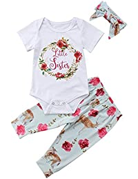 Sisters Girls Newborn Baby Toddler Kids 3 Pcs Outfits Set...