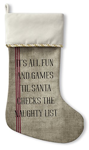 KAVKA Designs Santa's List Christmas Stocking, (Burlap/Red/Black) - TRADITIONS Collection, Size: 12.5x21 - (TELAVC1069CSTC) Christmas List Designs
