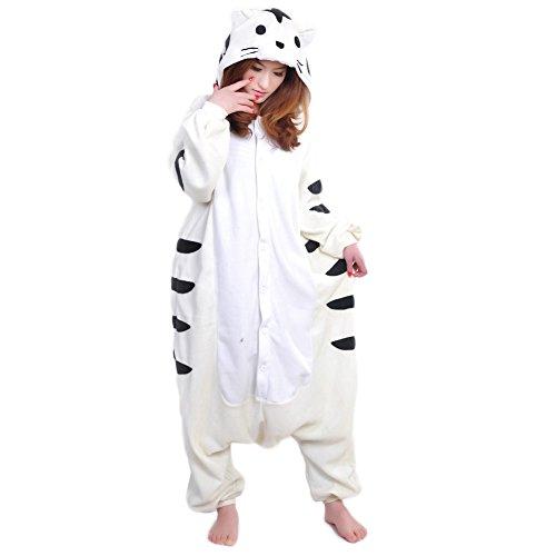 [Aini-cc Animal Pajamas Costume Tiger Halloween Cosplay Sleepsuit Hooded Onesies White XL] (White Tiger Costumes)