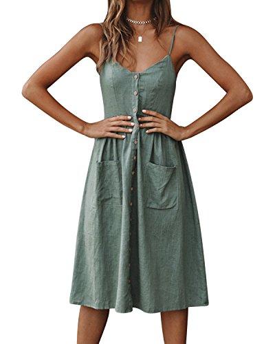 Jacansi Women Boho Beach Party Spaghetti Strap V-Neck Button Midi Dress with Pocket Green L