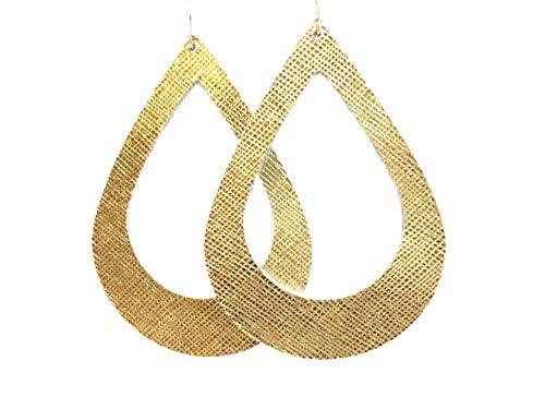 Metallic Gold Textured Cutout Teardrop Genuine Leather Earring