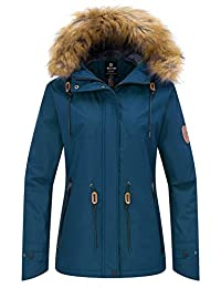 Wantdo Women's Ski Jacket Fleece Lining Winter Coat with Detachable Hood