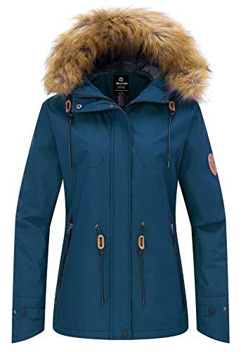 Wantdo Women's Waterproof Jacket Cotton Padded Winter Raincoat Blue Black XL (Womens Snowboard Jacket Large)