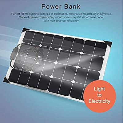 18V 50W Flexible Car Battery Solar Panel Charger Sun Power Battery Charging(Color:White & Black)