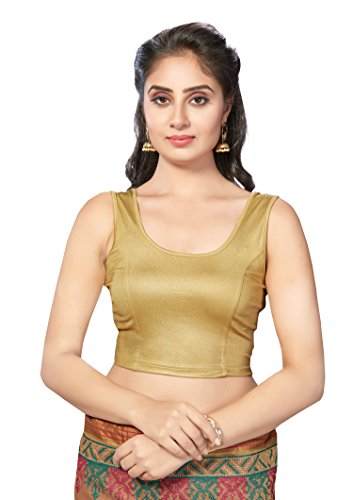 TrendyFashionMall Gold Fusion Lycra Stretchable Sleeveless Blouse M(40)