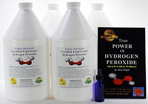 4 Gallons TNL Certified 35% Food Grade Hydrogen Peroxide + Free Real Blue Cobalt Dropper Bottle + True Power of Hydrogen Peroxide. Shipped Fast. by Trinity NutraLab