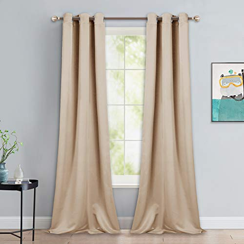 NICETOWN Room Darkening Grommet Panels - Baby Room Curtains 90 inches Long, Privacy Draperies (42 inches Width, Biscotti Beige, 1 Pair) (Light Blocking Curtains Beige)