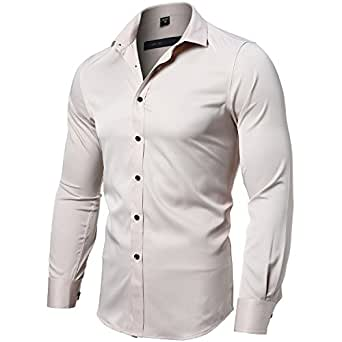 FLY HAWK Mens Fiber Casual Button up Slim Fit Collared Formal Shirts, Beige Button Down Shirt