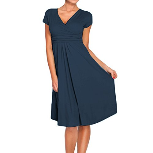 - Sue&Joe Women's Fit and Flare Dress V-Neck Ruched Flowy Pleated Cap Sleeve Dress, Dark Blue, TagsizeL=USsize8-10
