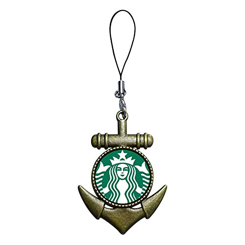 GiftJewelryShop Ancient Bronze Retro Style starbuck coffee logo Flower Photo Anchor Strap hanging Chain for Phone Cell Phone Charm