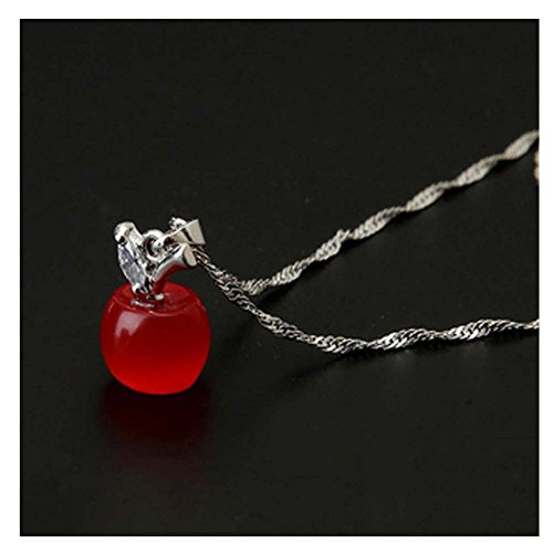Hobe Gold Necklace (Darkey Wang Woman Fashion Gem Crystal Opal Small Necklace(Red))