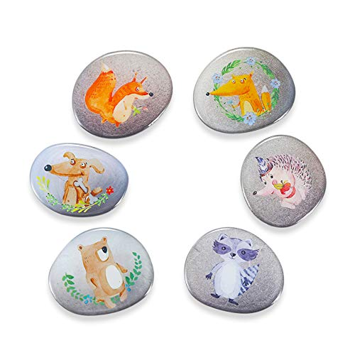 Fridge Magnets for Kids Toddlers Adults 6pcs Stone Shape Cute Refrigerator Magnets for Kitchen Decor Office Classroom Locker Magnet Set by Morcart, Ideal Gift (6-Stone Animal)