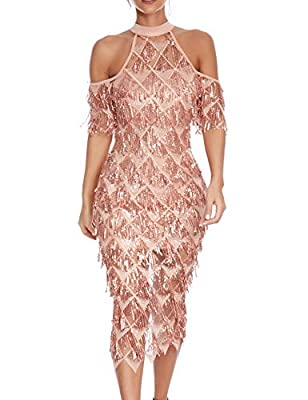 Women's Tassels Gatsby 1920s Inspired Sequins Embellished Club Prom Dress