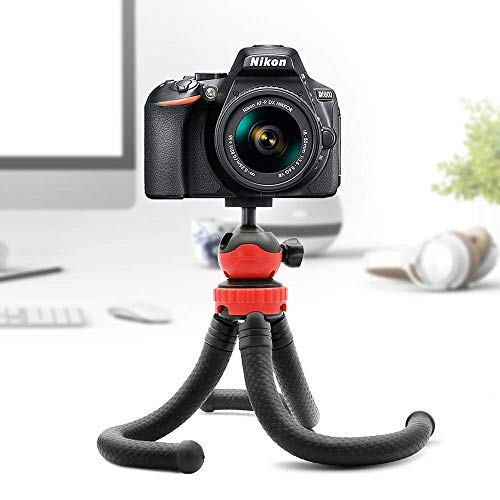 E-COSMOS Flexible Gorillapod Tripod with 360° Rotating Ball Head Tripod for All DSLR Cameras (Max Load 1.5 kgs) & Mobile Phones + Free Heavy Duty Mobile Holder (Black) (12 Inch, Black and Red)