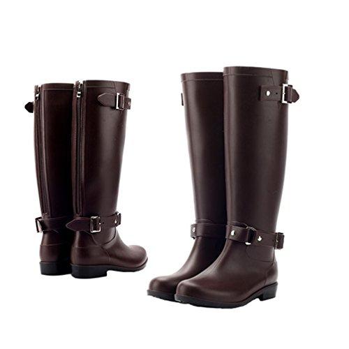 Rainboots Women Knee High Rubber Boots Waterproof Rubber Rainboots Women Rain Footwear With Zipper for Garden
