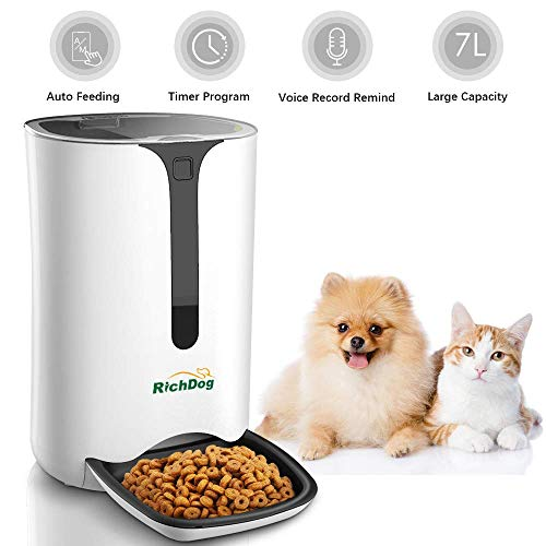 RICHDOG Automatic Cat Feeder – Pet Feeding, Lager Capacity 7L, Accurate Portion Control, Tow Power Supply, Voice Record and Play, Timed Pet Feeder, Auto Cat Feeder Dog Feeder, Small Animal Feeder