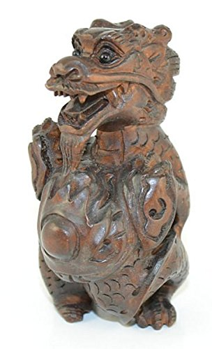 Dragon Guarding Pearl Hand Carved Wood Netsuke (Treasure Guarding Dragon Figurine)