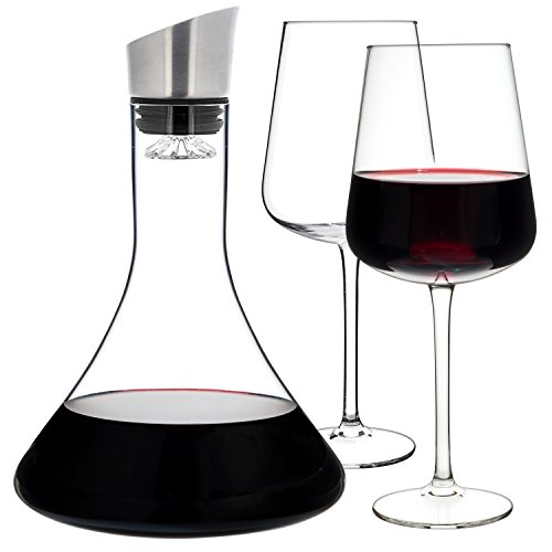 Luxbe - Wine Decanter 54-ounce and Aerator Pourer Lid - With Two Crystal Glasses Set - Hand Blown Lead-free Crystal Glass, Red Wine Carafe - Descanter with Stainless Steel Lid-Aerator, Filter, Pourer by Luxbe