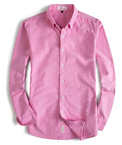 MUSE FATH Men's Oxford Dress Shirt-100% Cotton Casual Long Sleeve Shirt-Button Down Point Collar Shirt-Pink-XL (Oxford Tropical)